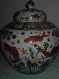 Ming Jiajin dynasty 5 color big jar with lid