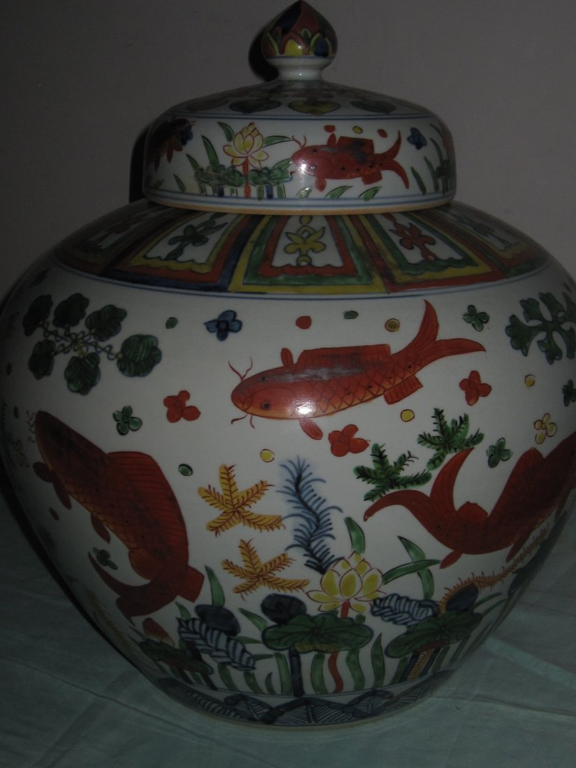 Ming Jiajin dynasty 5 color big jar with lid