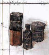 """Christo, """"Wrapped Bottle and Cans (Project)"""""""