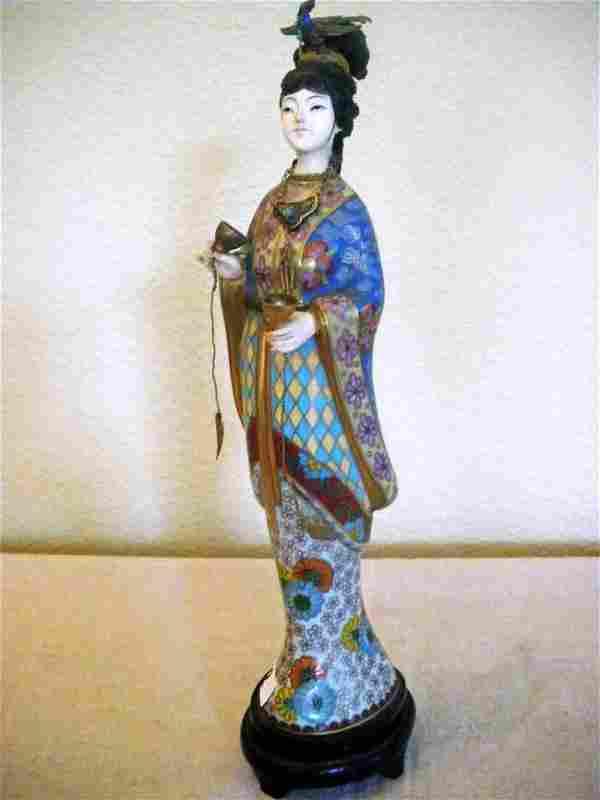 Cloisonné Empress Figure w/ Bird of Paradise atop h
