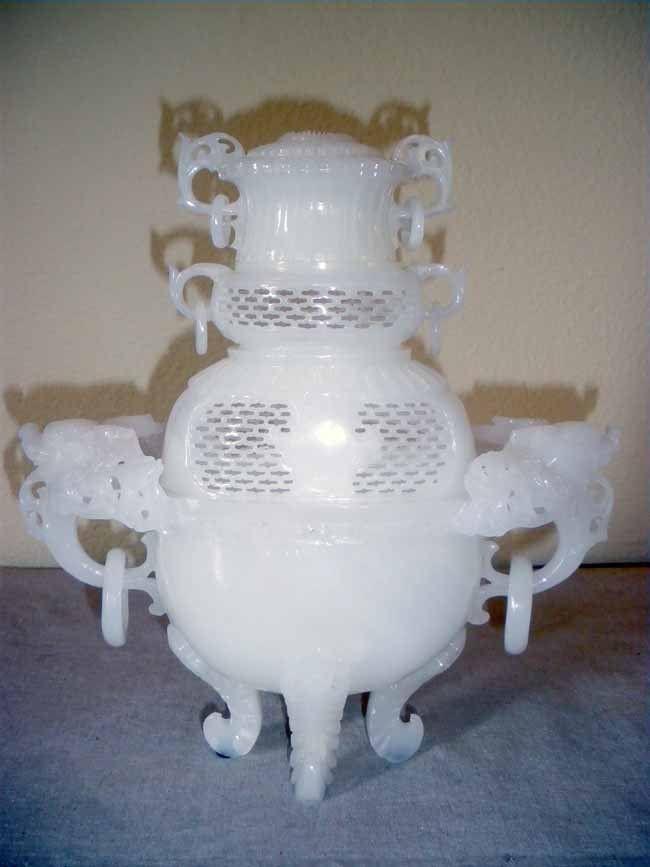 Chinese Carved White Quartz Censor with Pierced De