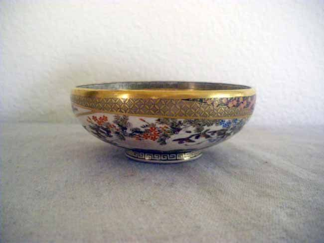 Small Japanese Polycromed Satsuma Earthenware Bowl