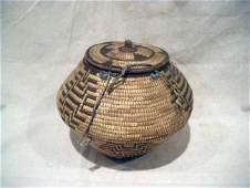 258: Native American Klickitat Northwest Basket with Li