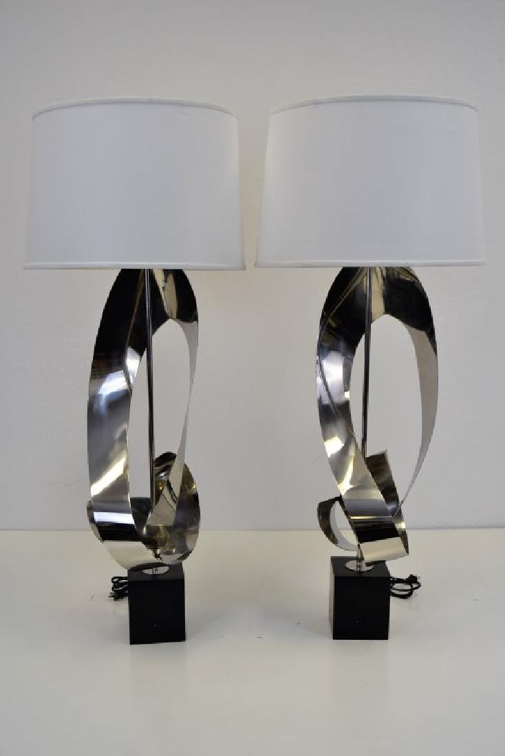 Custom Stainless Free Form Lamps Pair