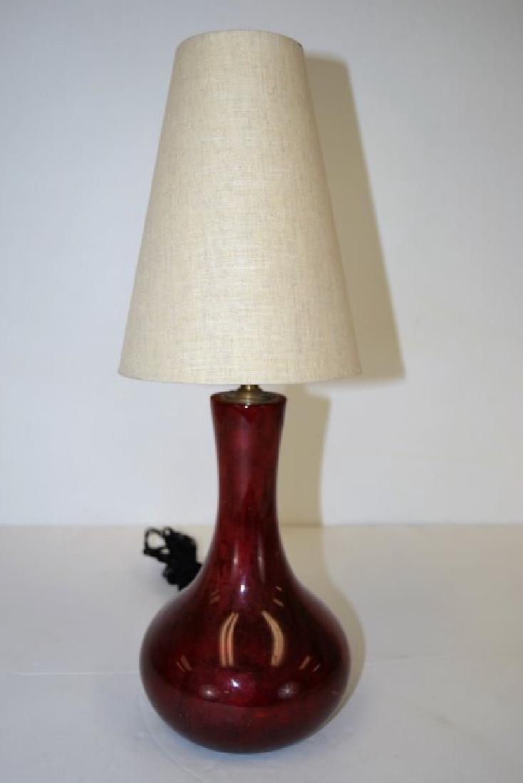 Aldo Tura Red Goat Skin Lamp