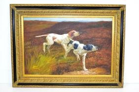 Robert Townsend Oil on Canvas of Hunting Dogs