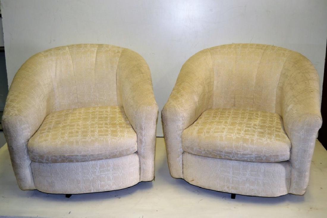 Milo Baughman Style Pair Swivel Tub Chairs