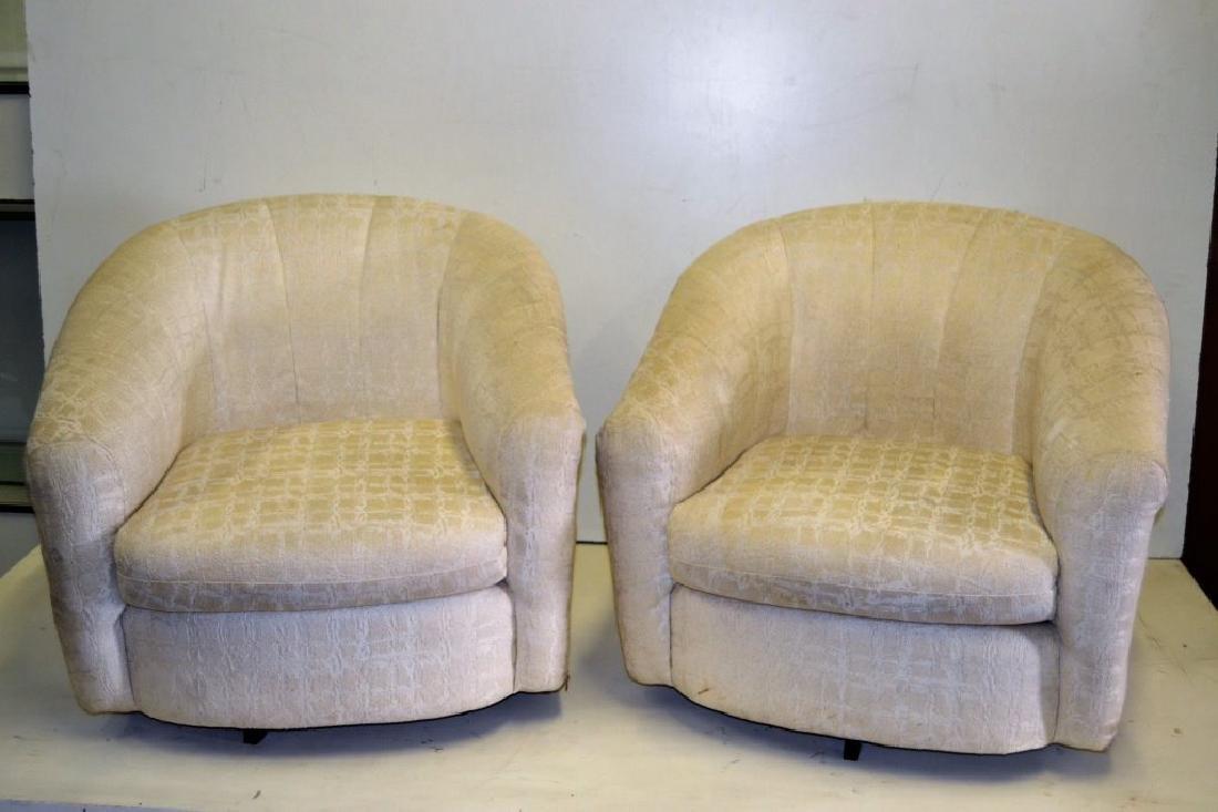 Milo Baughman Style Pair Swivel Tub Chairs - 2