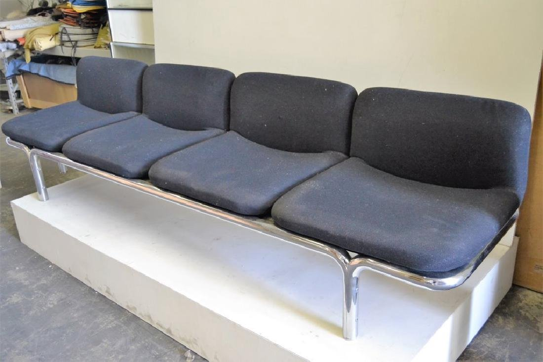 Large Italian Chrome Sofa w/Black Fabric