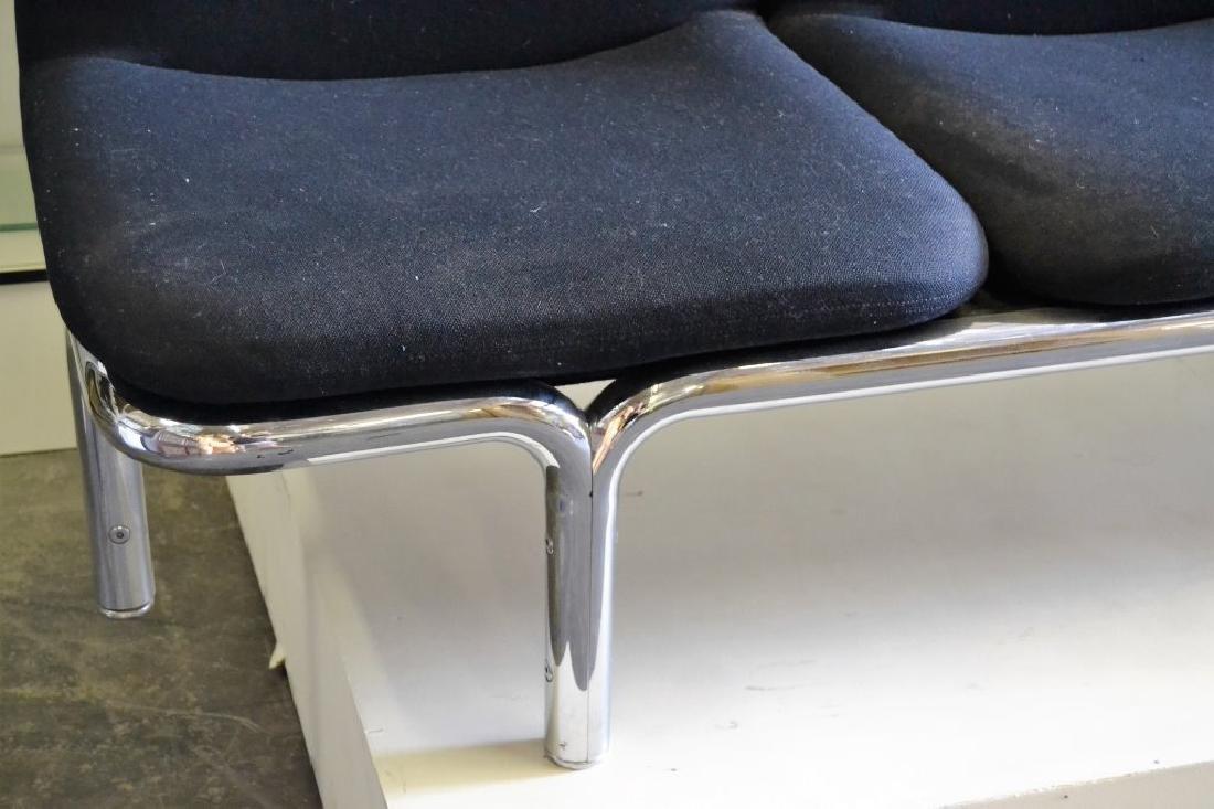 Large Italian Chrome Sofa w/Black Fabric - 3