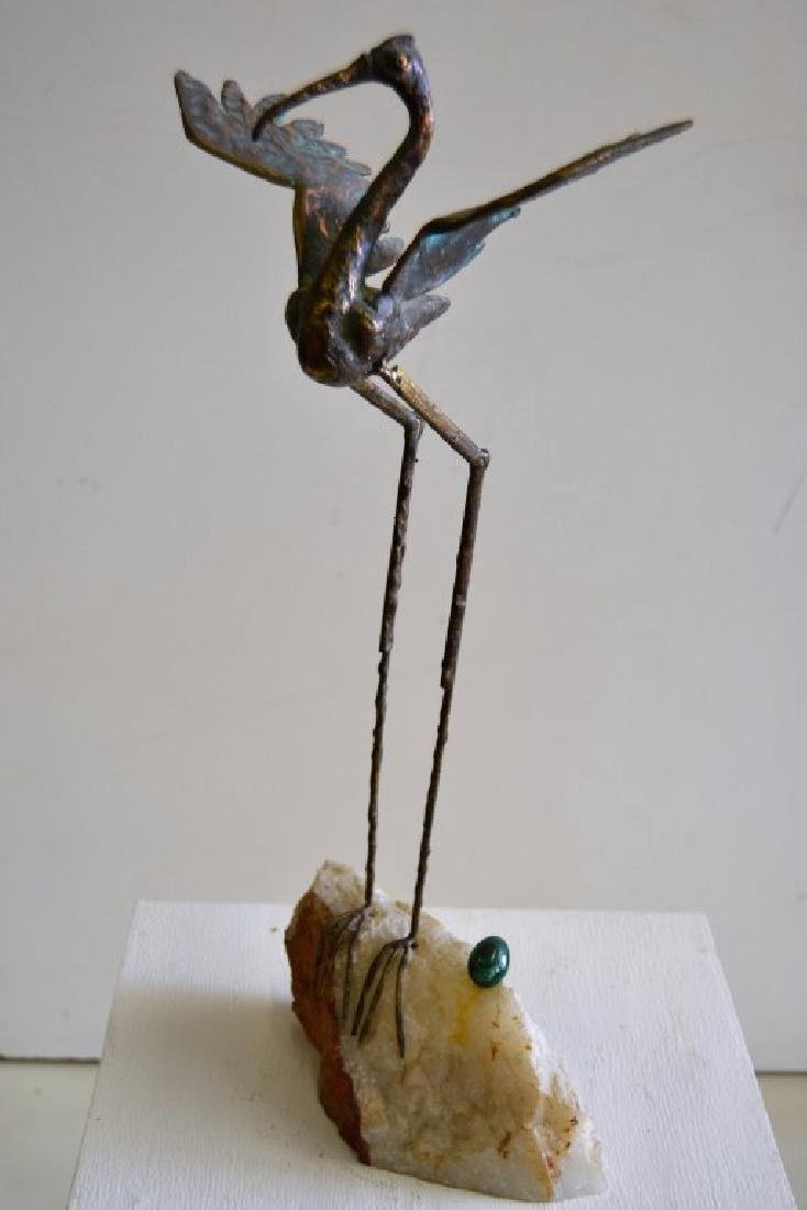 C. Jere Bronze Bird Sculpture with Malachite Egg - 2