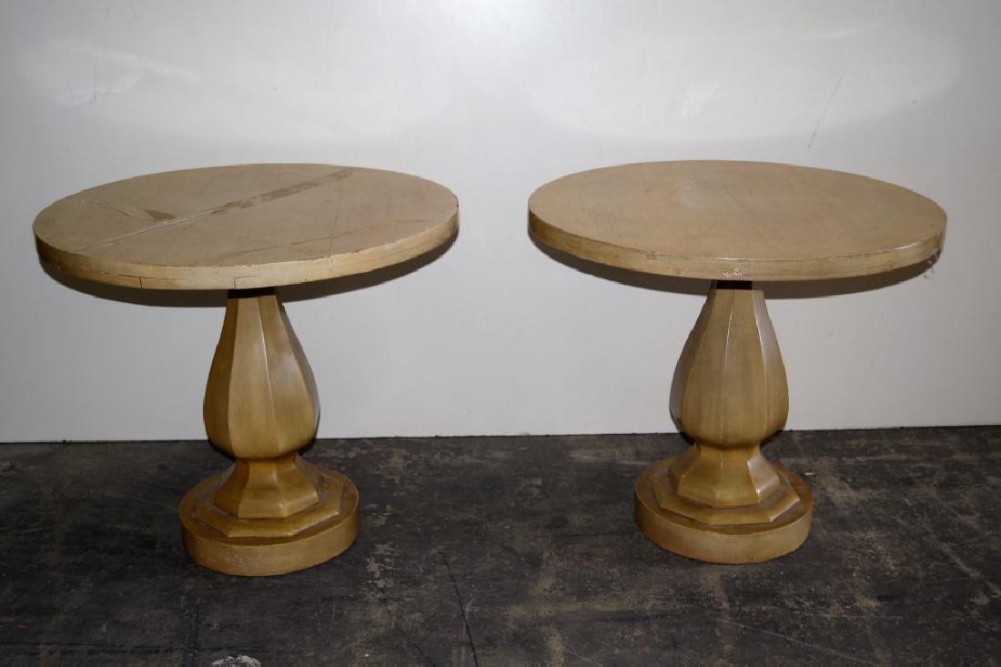 Pair Dunbar Style Pedestal Tables