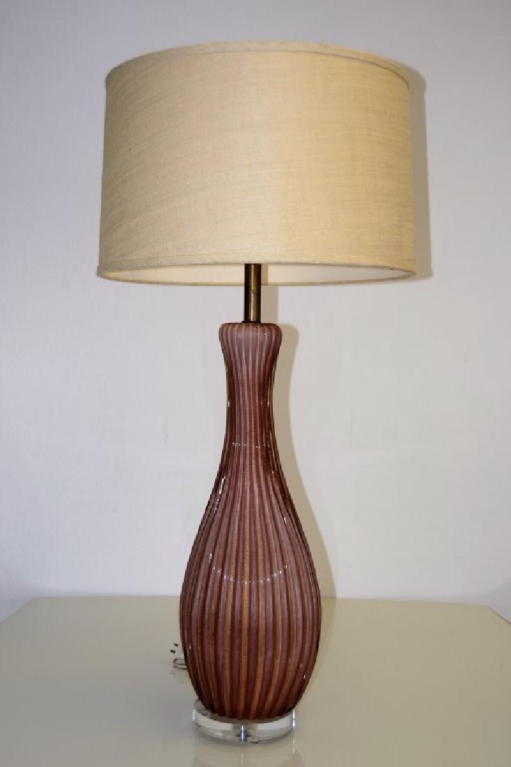 Large Seguso Puple Table Lamp - 2
