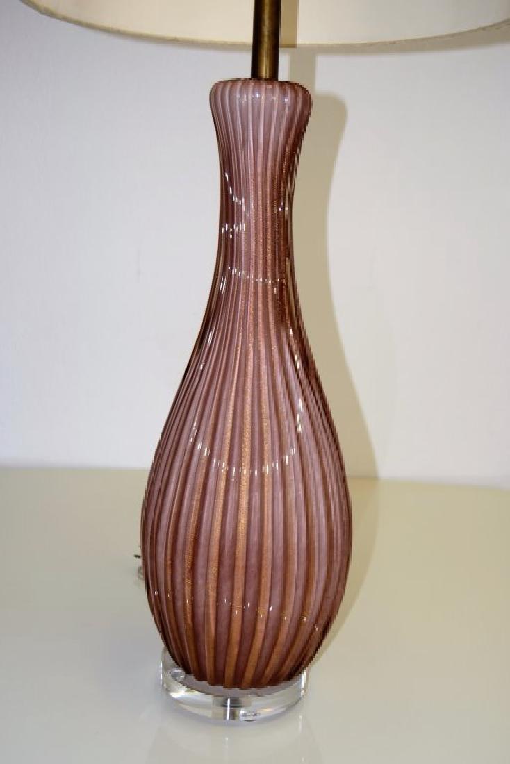 Large Seguso Puple Table Lamp - 3