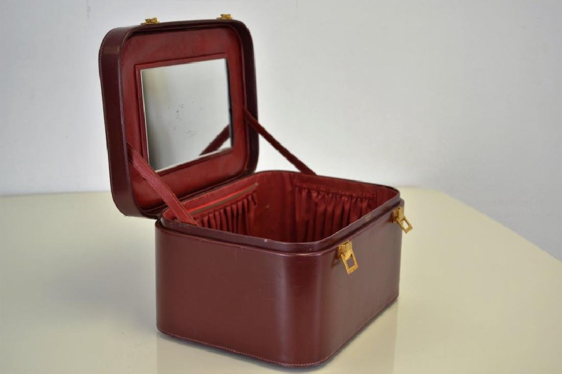 Hermes Burgundy Leather Train Case