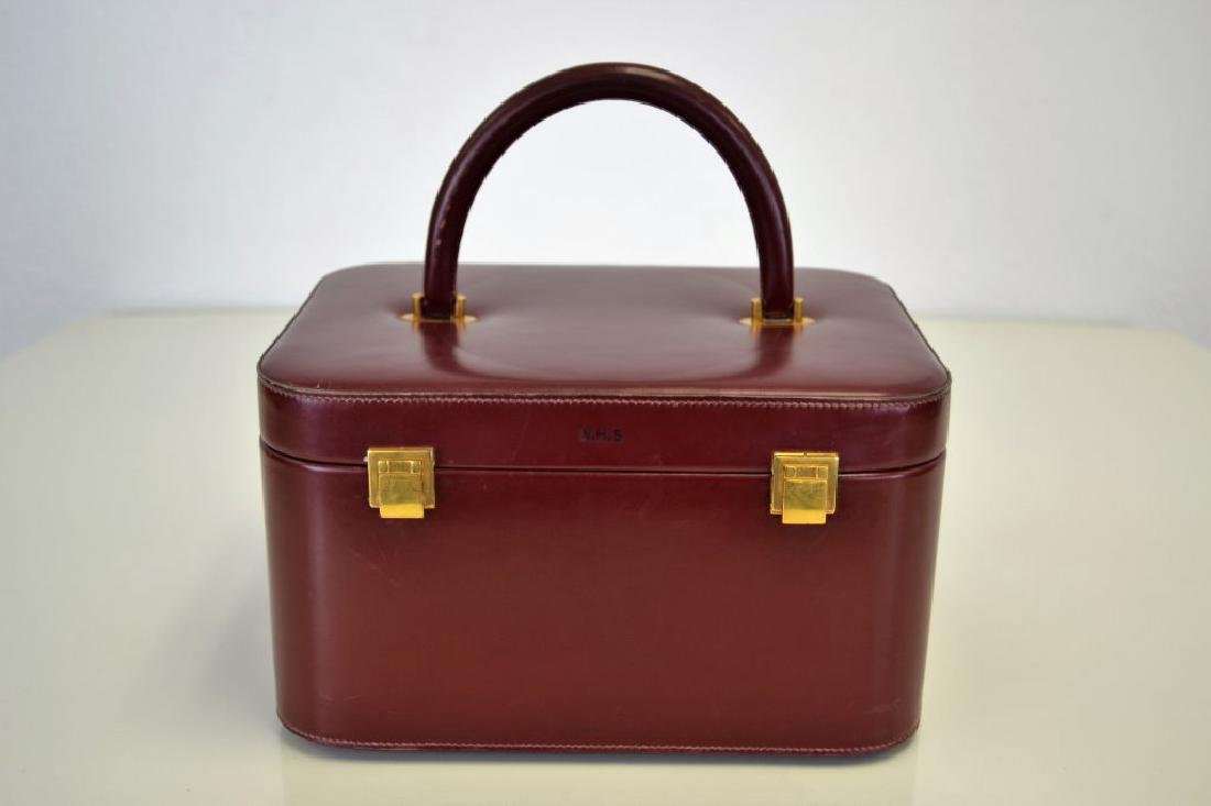 Hermes Burgundy Leather Train Case - 2