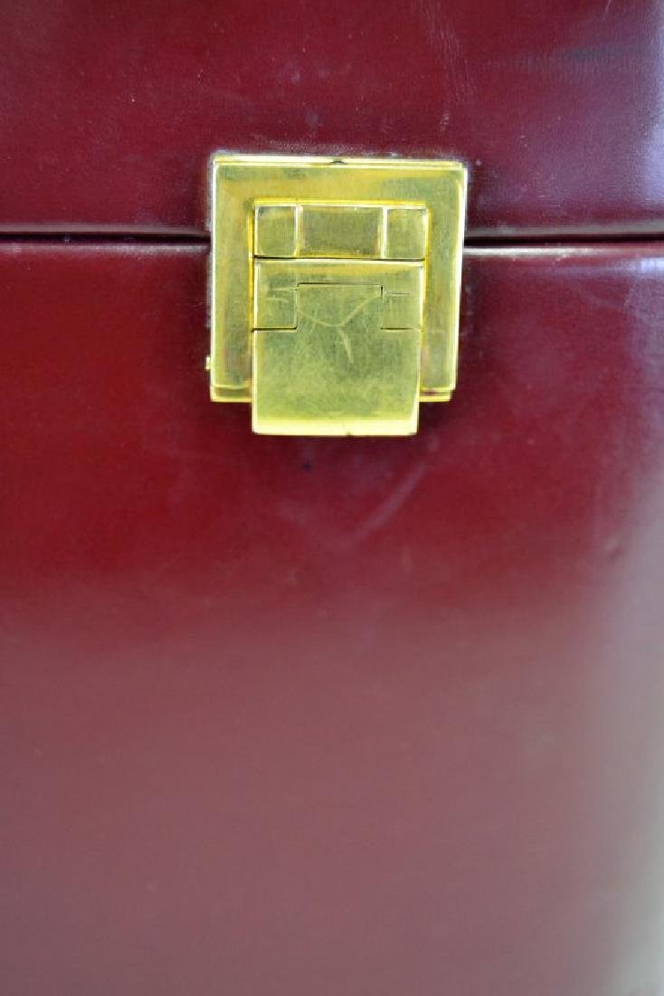 Hermes Burgundy Leather Train Case - 3