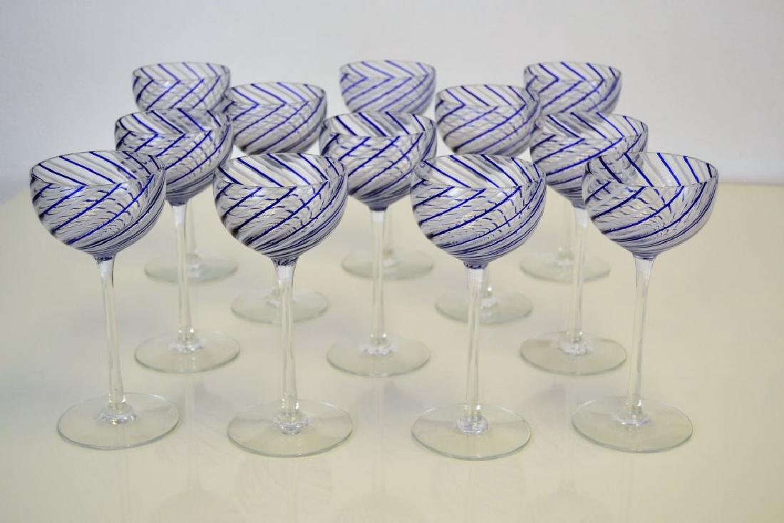 Venini Style Wine Glasses Set of Twelve