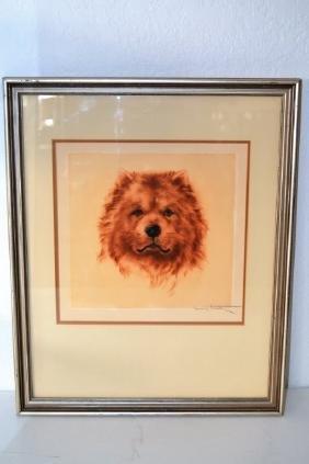 Louis Icart Chow Dog Pencil - Signed