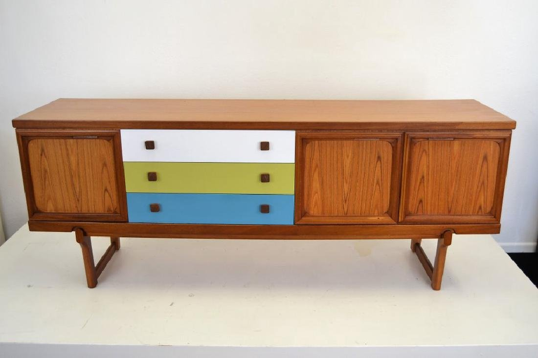 Teak Credenza with Painted Drawers