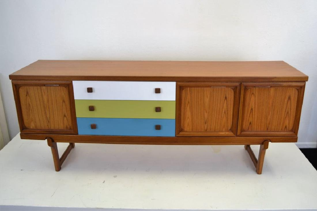 Teak Credenza with Painted Drawers - 2