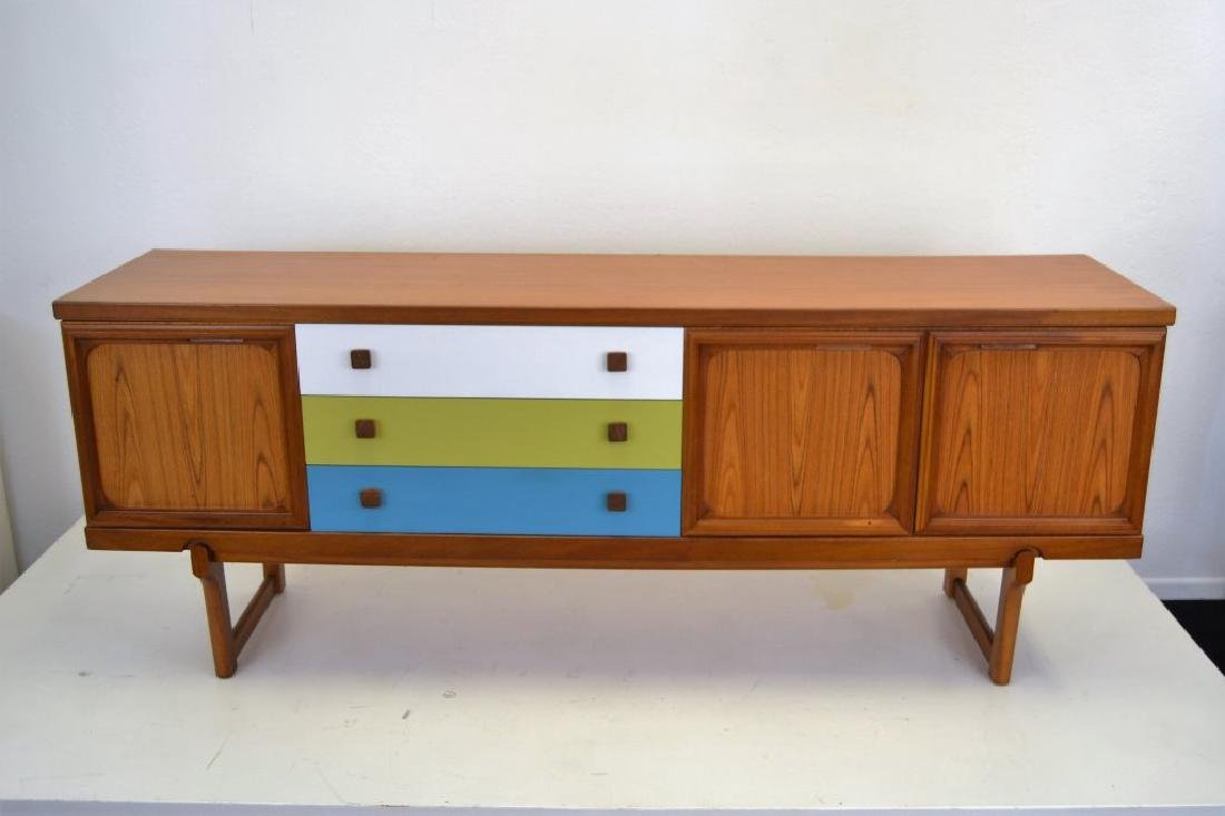 Teak Credenza with Painted Drawers - 3
