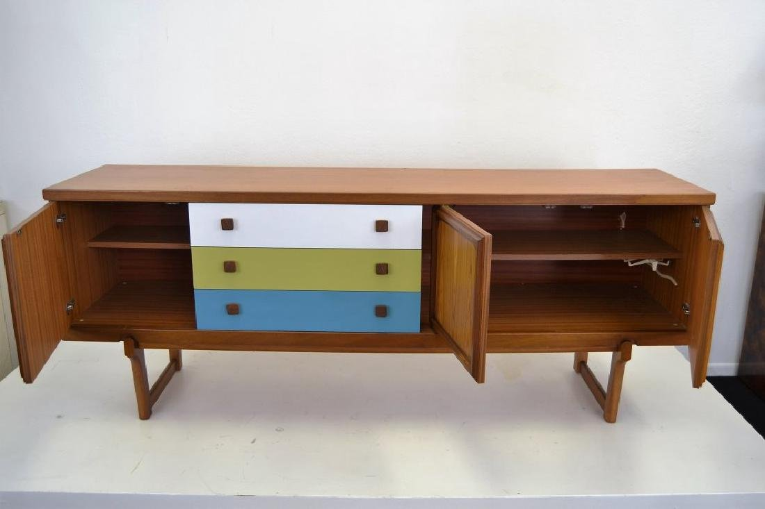 Teak Credenza with Painted Drawers - 4