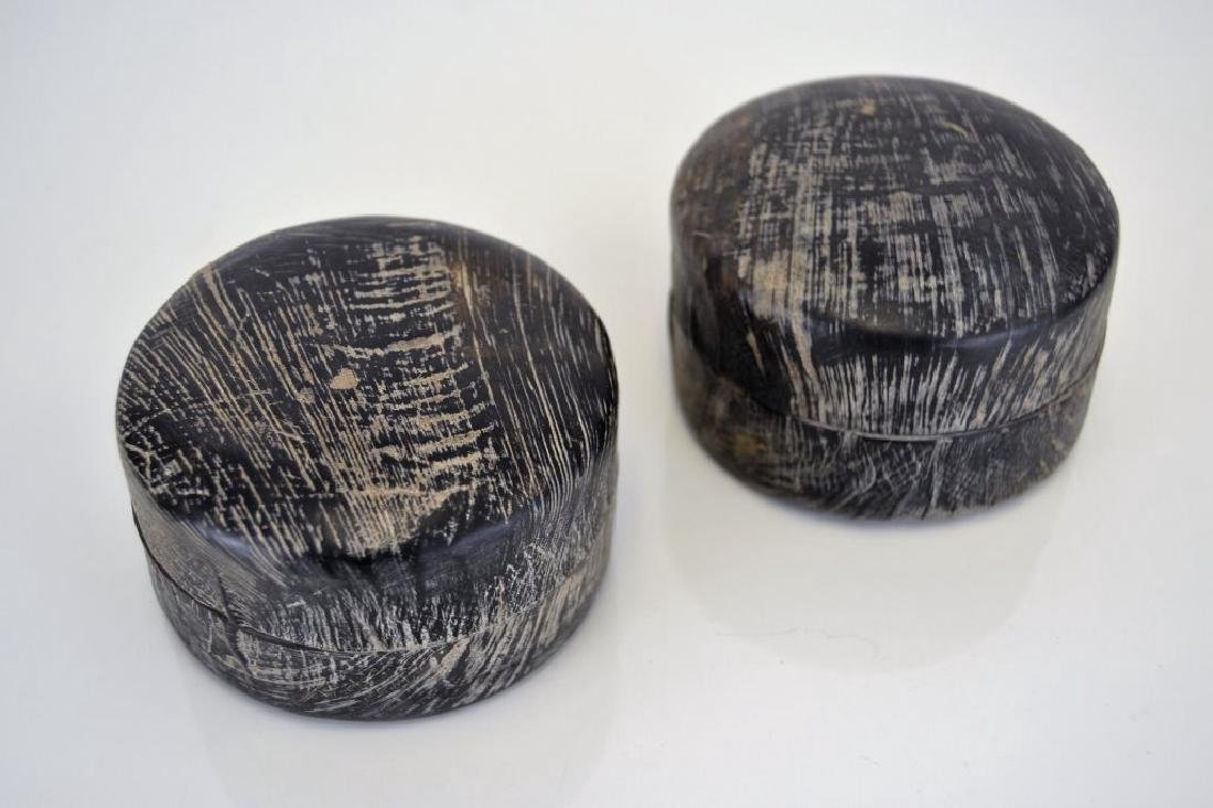 Pair Carved Horn Boxes