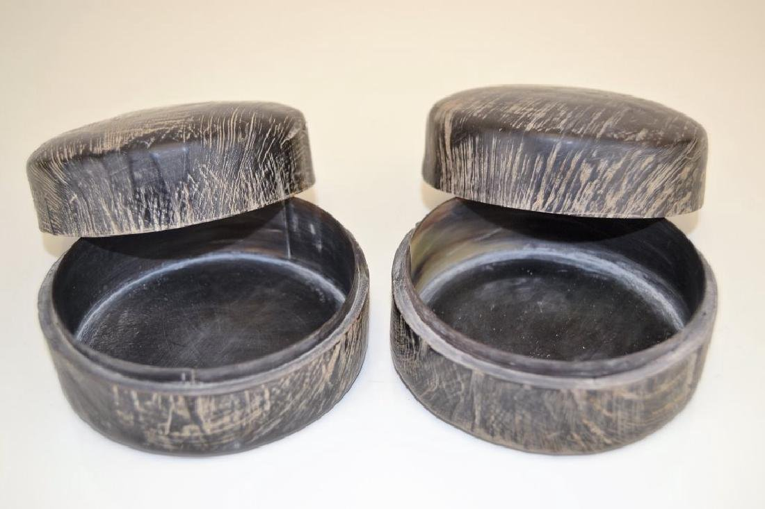 Pair Carved Horn Boxes - 2