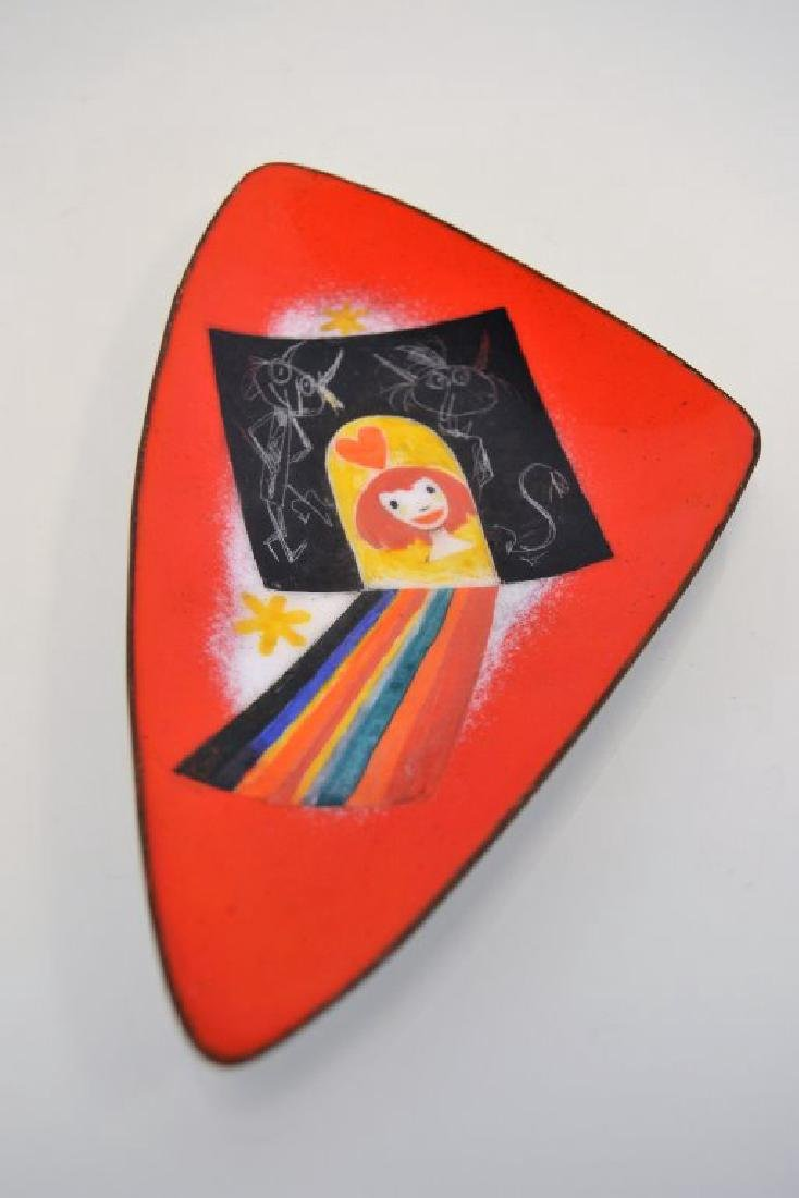 Franz Bergman Enamel Plate - Signed