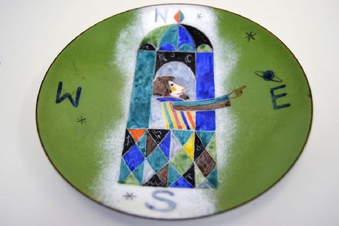Franz Bergman Enamel Plate - Signed - 2
