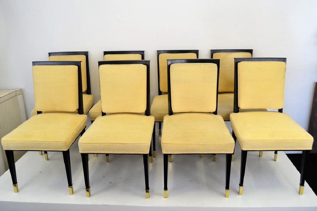 Black Lacquer Chairs with Brass Sabots - Set of 8