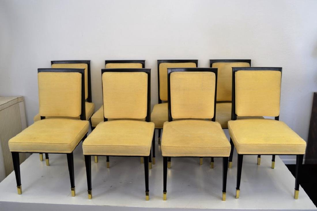 Black Lacquer Chairs with Brass Sabots - Set of 8 - 2