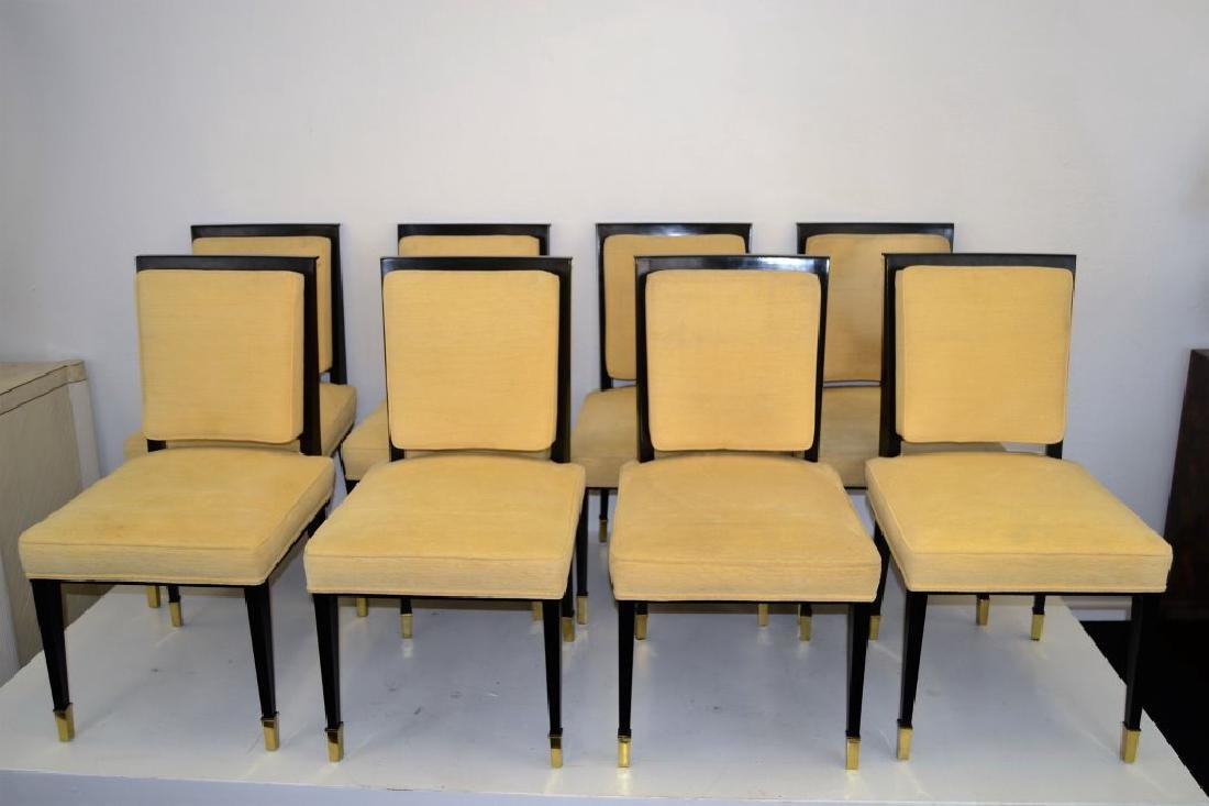 Black Lacquer Chairs with Brass Sabots - Set of 8 - 3