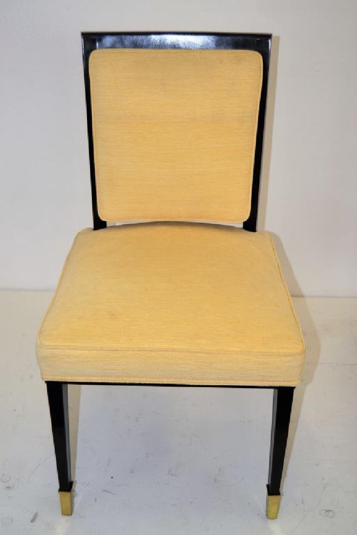 Black Lacquer Chairs with Brass Sabots - Set of 8 - 5