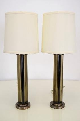 J. Robert Scott Bronze and Glass  Lamps