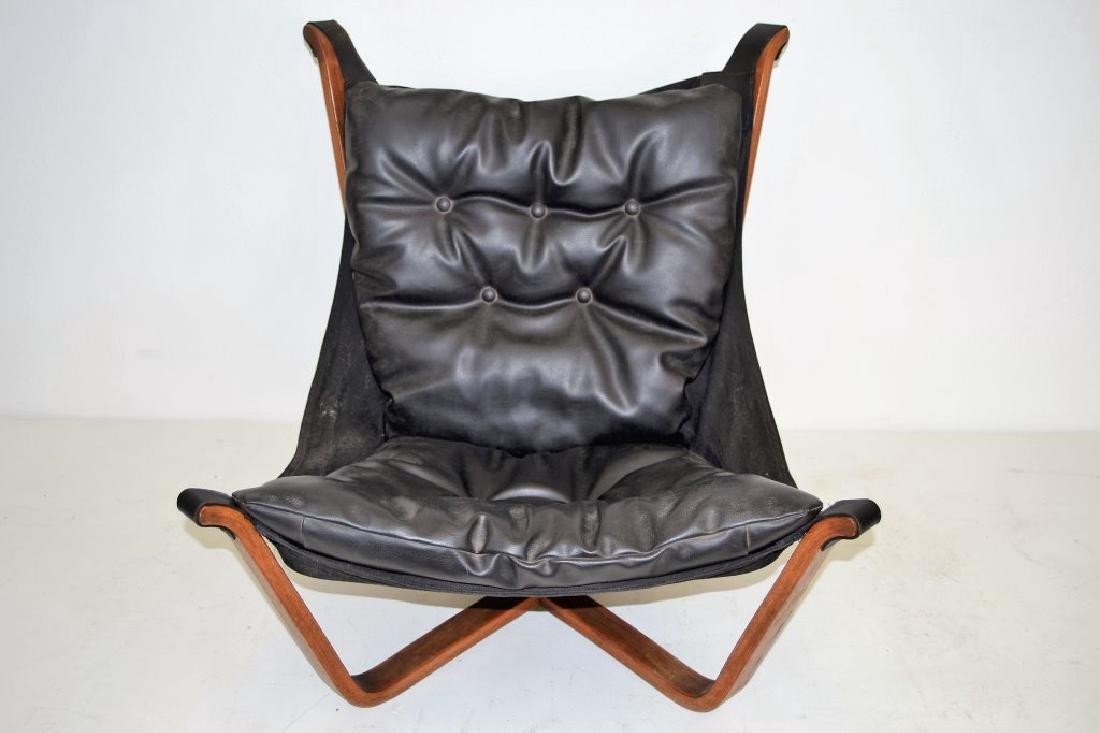 Scandanavian Black Leather Falcon Chair