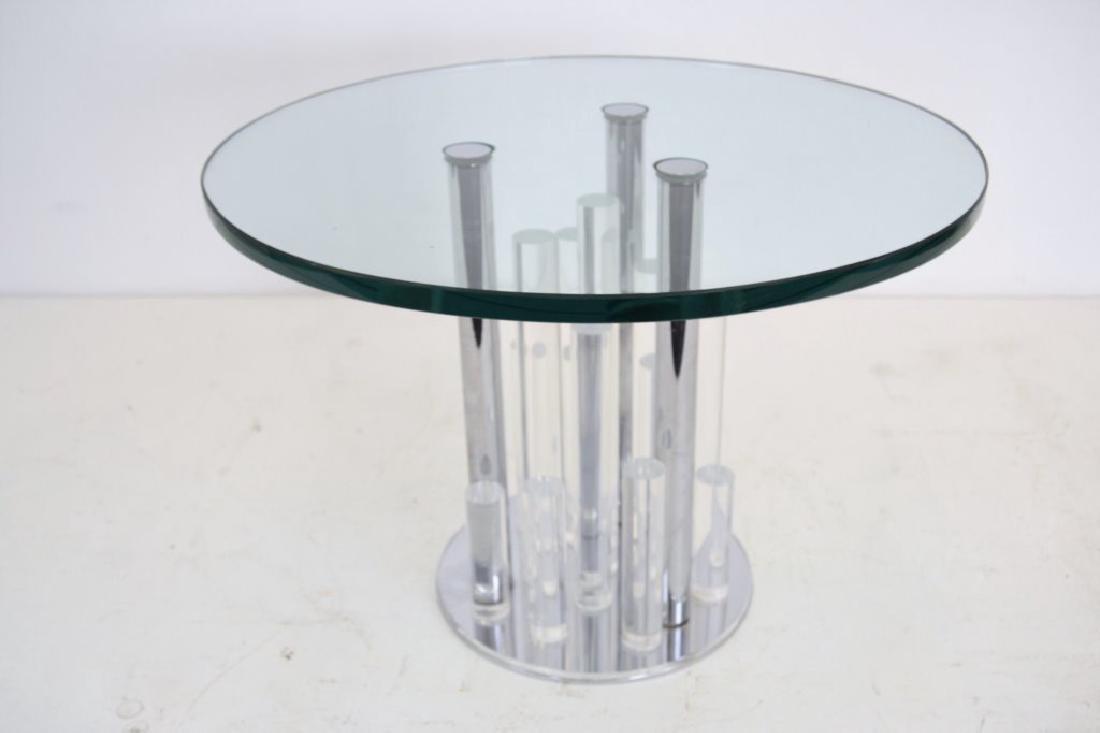 Charles Hollis Jones Lucite/Chrome Round Table