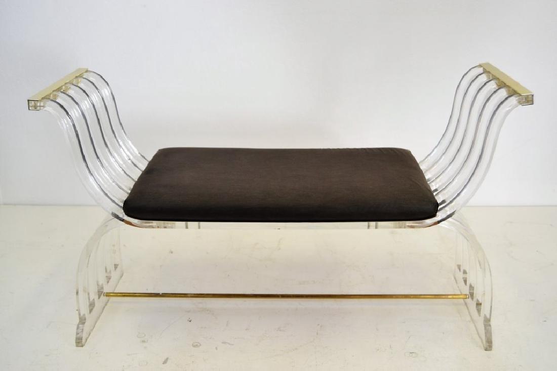 Charles Hollis Jones Style Lucite Curule Bench