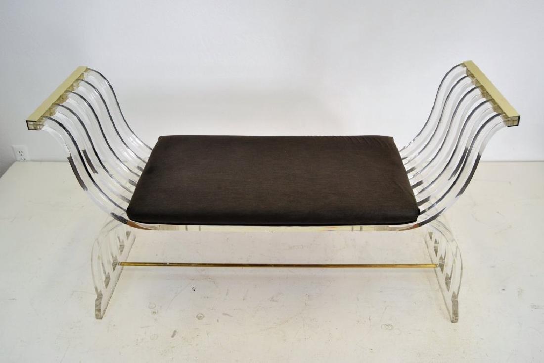 Charles Hollis Jones Style Lucite Curule Bench - 2
