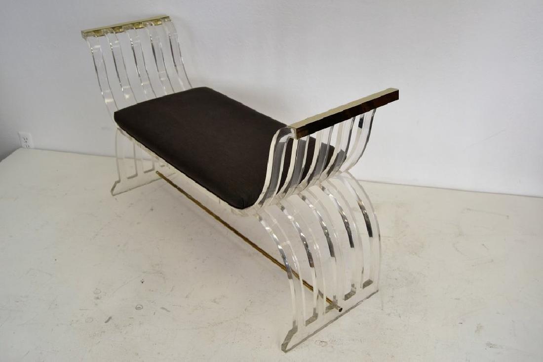 Charles Hollis Jones Style Lucite Curule Bench - 3
