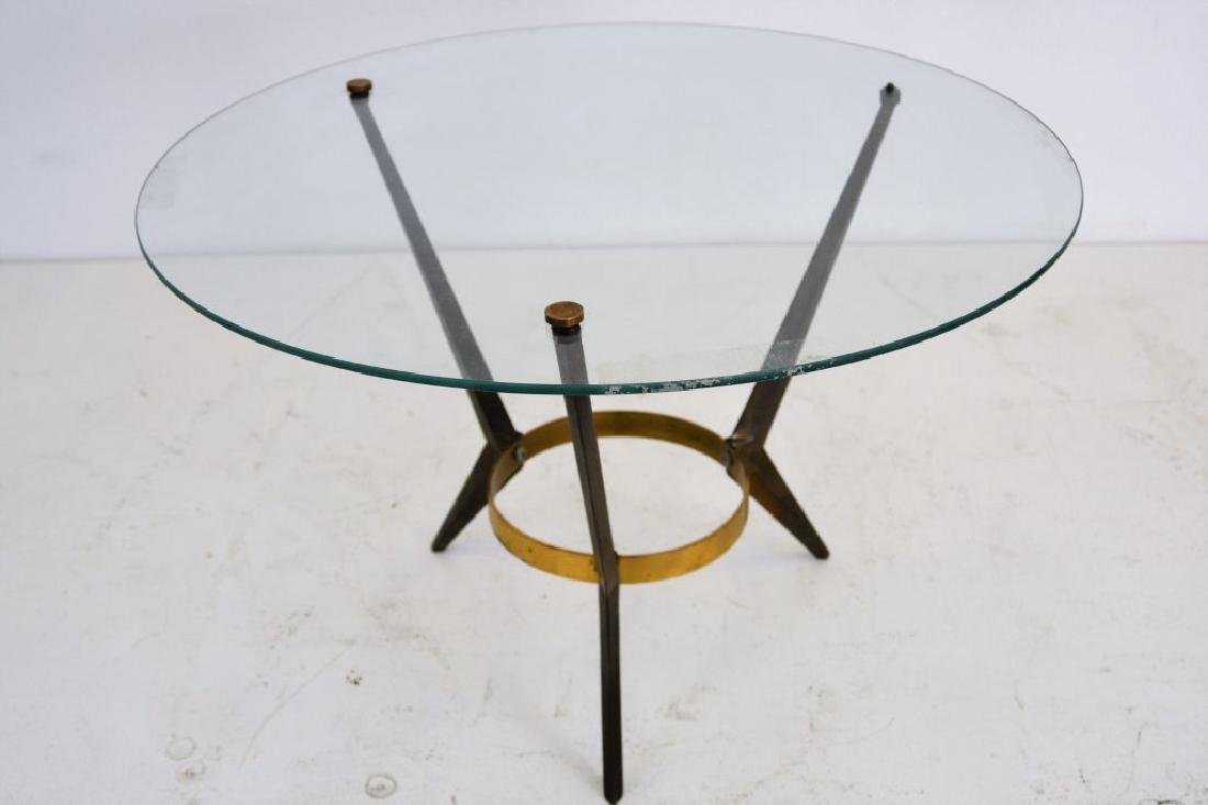 Mid Century Brass/Glass/Steel Round Table