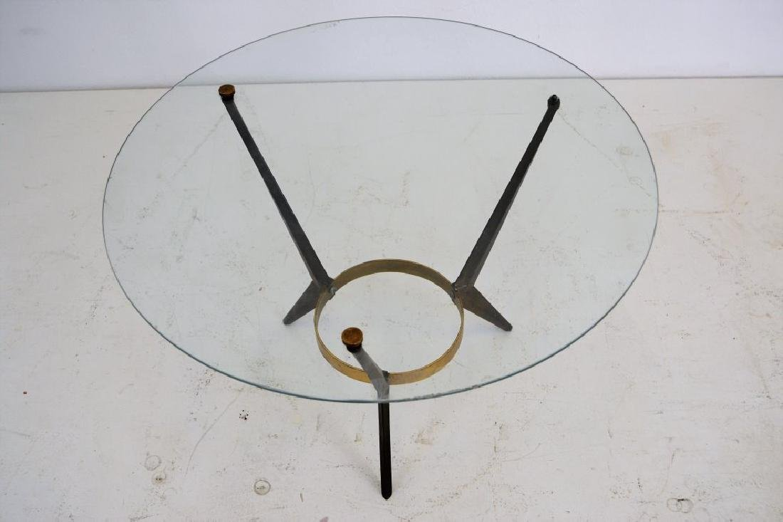 Mid Century Brass/Glass/Steel Round Table - 2