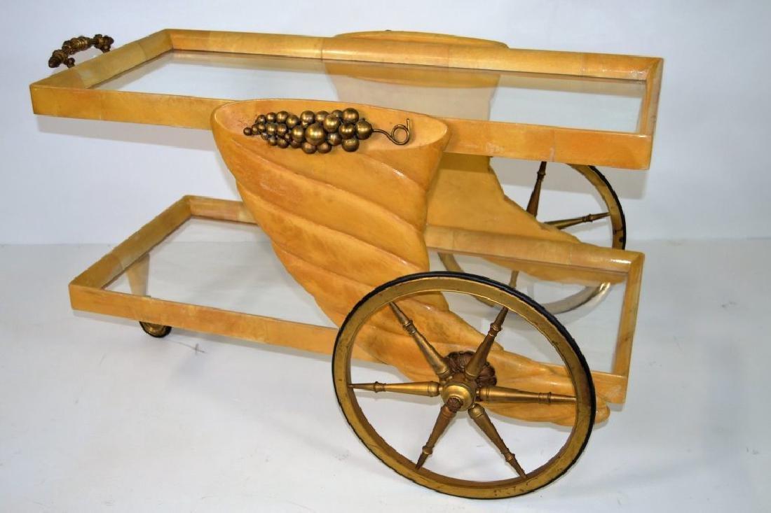 Aldo Tura Goat Skin Tea Cart