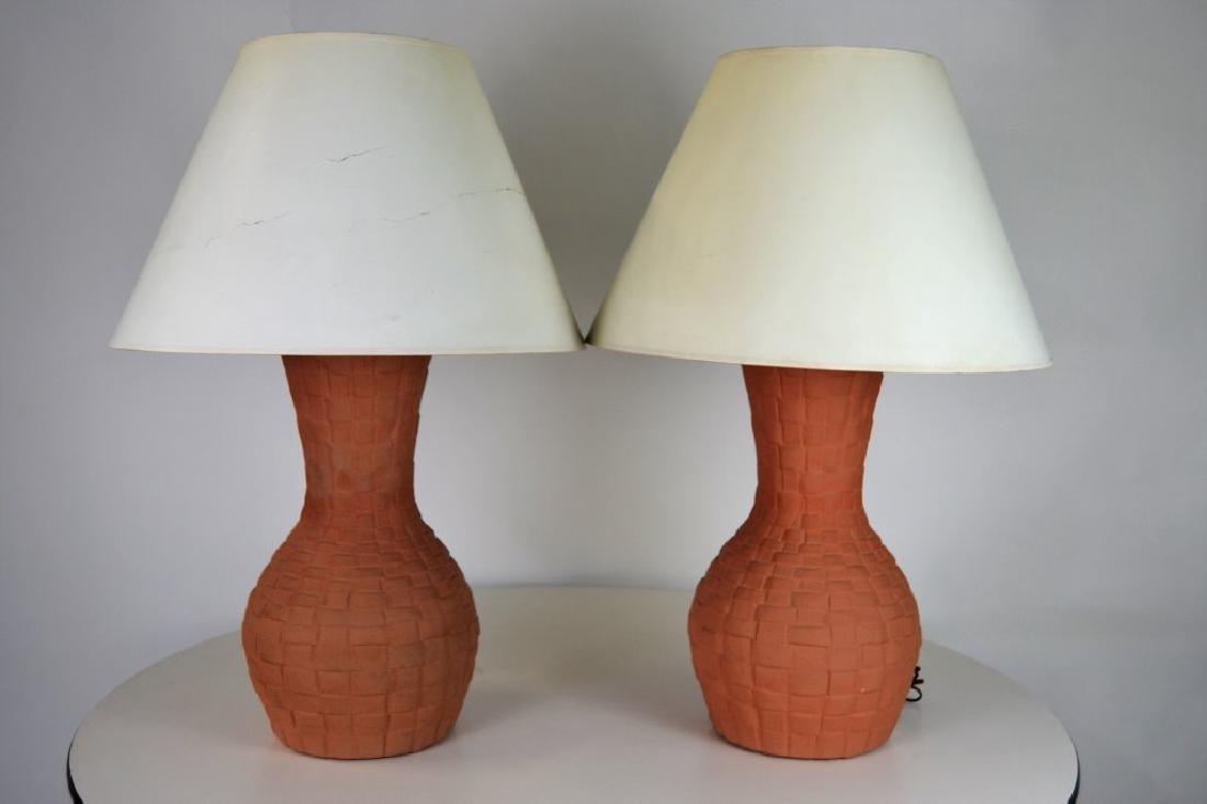 John Dickinson Terracotta Basket Weave Lamps