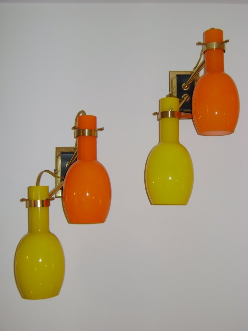 22: Stilnovo Orange and Yellow Wall Sconces