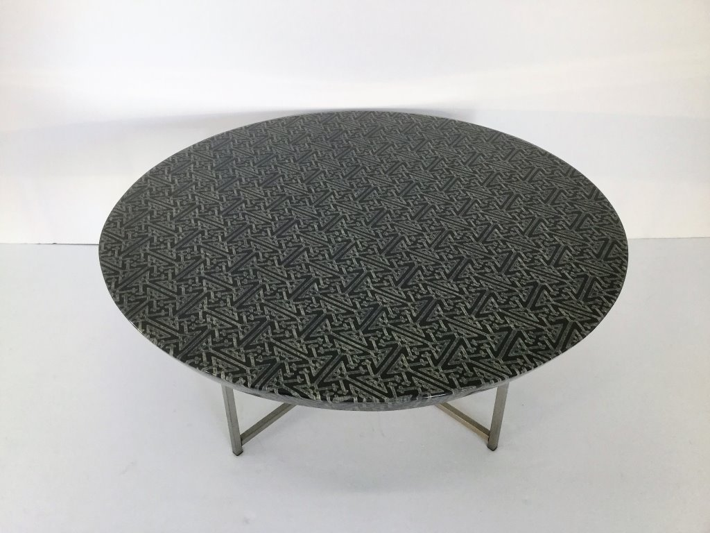 Karl Springer Style Batik Fabric Table
