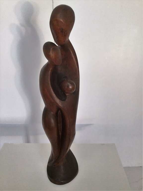 Francisco Dos Santos Abstract Family Sculpture Wood
