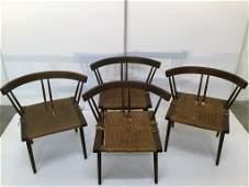 Set of Four George Nakashima Grass Seat Chairs