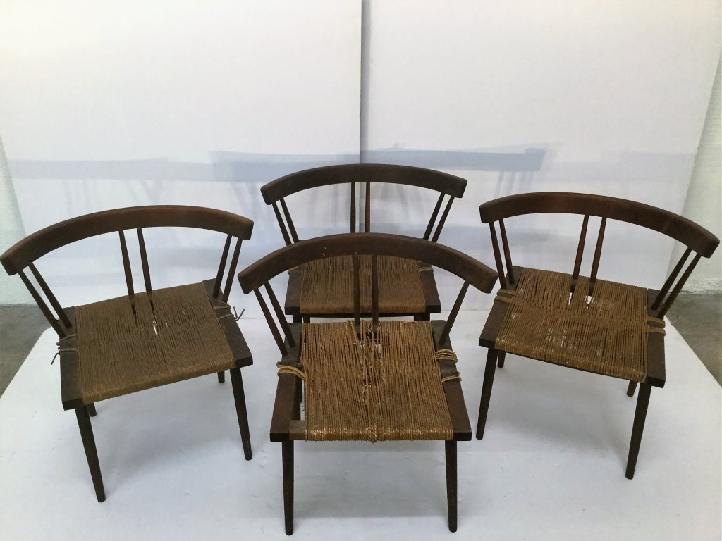 Set of Four George Nakashima Grass Seat Chairs